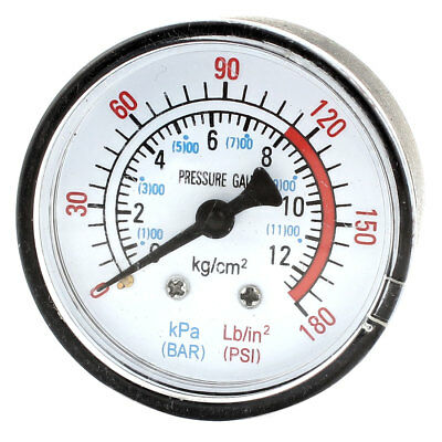Air Compressor Pneumatic Hydraulic Fluid Vacuum Pressure Gauge 0-12Bar 0-180PSI