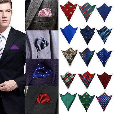 Mens Printed Handkerchief Silk Pocket Square Hanky Wedding Party Suit Hankies