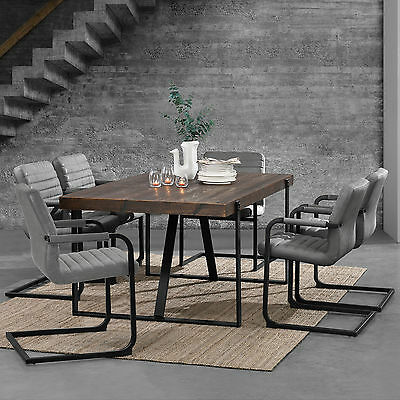 [en.casa] Dining Table Dark oak with 6 Chairs 180x100 table Chairs grey