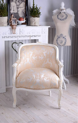 Baroque Chair France Shabby Chic Bergere Bench Cream White