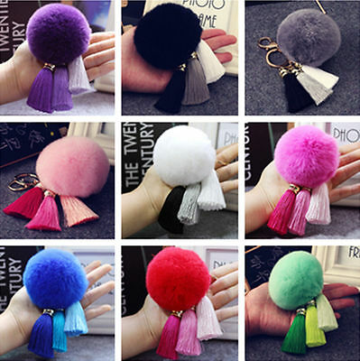 Fluffy Rex Rabbit Fur Ball Pom Tassel Charm Car Keychain Pendant Handbag Keyring