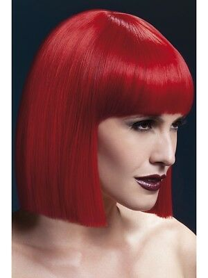"Fever Lola Wig Ladies Red 12"""" Fancy Dress Wig With Fringe Blunt Cut"