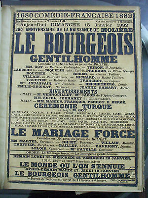 affiche originale  theatre comedie francaise 1882 moliere bourgeois mariage