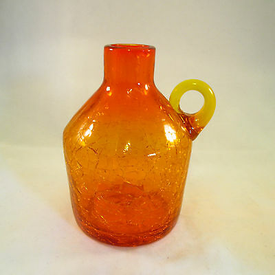 "Amberina Crackle Glass Jug Vintage Rough Pontil 6"" Tall"