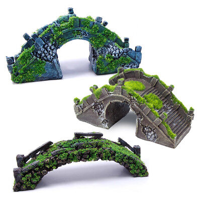 Aquarium Fish Tank Ornament Bridge Moss Covered Decoration - All Pond Solutions