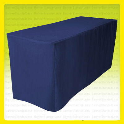 8' Fitted Polyester Tablecloth Wedding Banquet Event Table Cover - NAVY BLUE
