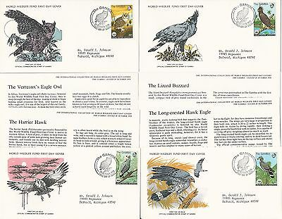 Gambia World Wild Life First Day Covers, #381-384, 1978
