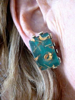 Authentic Vintage 1950's Green Confetti Lucite Clip Earrings