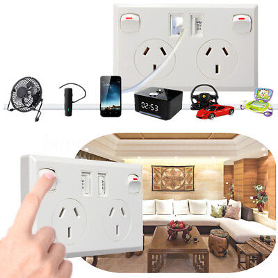 Double Australian USB Power Point Home Plug Socket 2 Switch Wall Power Supply