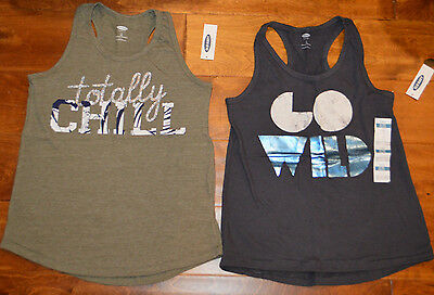 Girl's Old Navy Sleeveless Tank Top Go Wild, Totally Chill Tops Sizes S, M, XL