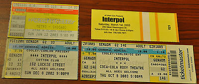 VTG 2002 2003 INTERPOL tour concert Ticket Stubs 40 watt Metro Chicago Roxy