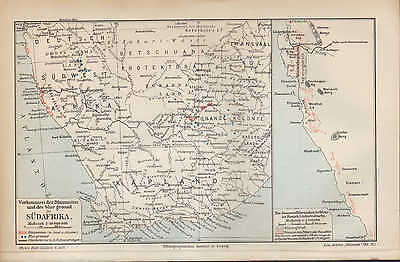 Landkarte map 1910: SÜDAFRIKA. Vorkommen Diamanten blue ground KAPKOLONIEN