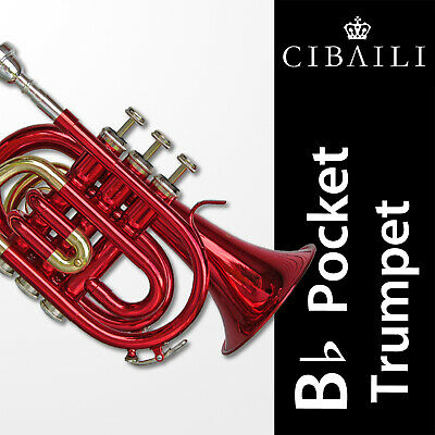 CIBAILI Pink Bb POCKET TRUMPET • High Quality •  Brand New • With Case •