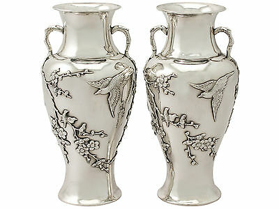 Antique Circa 1890 Pair of Chinese Export Silver Vases