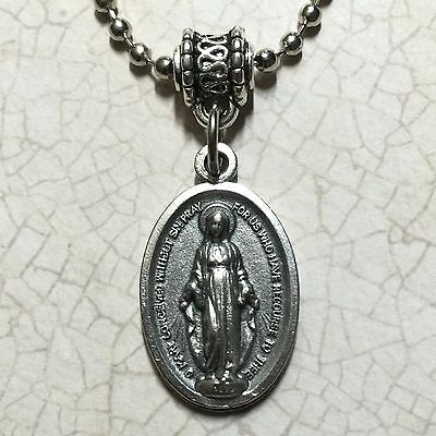 Miraculous Protection Medal Our Lady of Grace Virgin Mary Silver Tone Pendant