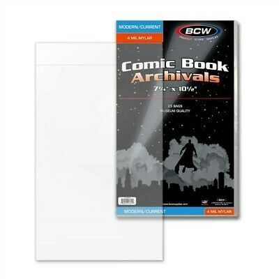 75 BCW Current / Modern Comic Book 4 Mil Mylar Bags 7.25x10.5 Archival Safe