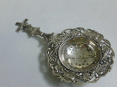 Antique Over -the-cup Tea Strainer Dutch 833 Silver