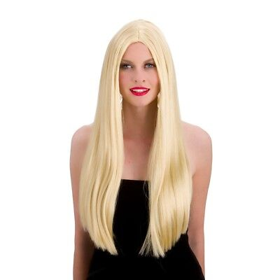 "Ladies Long Blonde Straight Wig Classic Halloween Fancy Dress 24"" Wig"