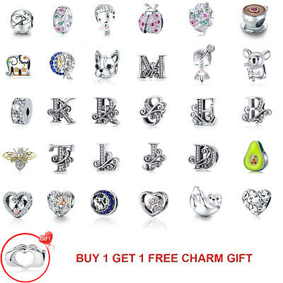European sterling S925 Silver CZ Charms Beads Pendants Fit Snake Bracelet Chain