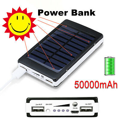 NEW 50000mAh Solar Power Bank Panel 2 USB Portable Pack Charger for Mobile Phone