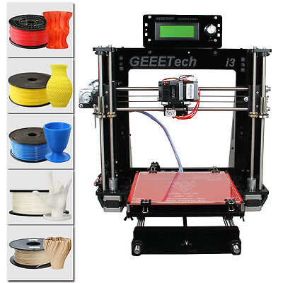 Free shipping Geeetech Prusa I3 3D Printer support 5 filament MK8 Extruder DIY