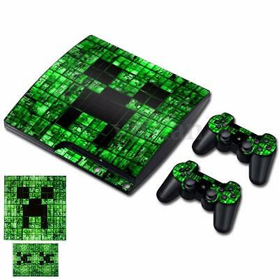 Skin Sticker Vinyl Decal Cover For PS3 PlayStation 3 Slim + 2 Controllers New