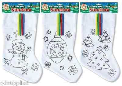 Childrens Colour Your Own Christmas Stocking & Felt Colouring Pens Personalised