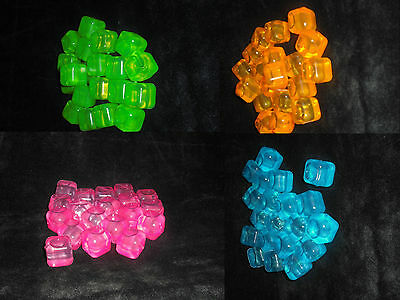 NEW 20 NEON REUSABLE ICE CUBES IN NET Choose from 4 DIFFERENT COLOURS SIL NE0047