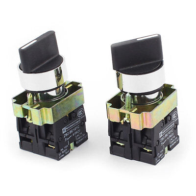 ZB2-BE101C AC 600V 10A 6KV DPST 2NO Latching Rotary Selector Switch 2Pcs