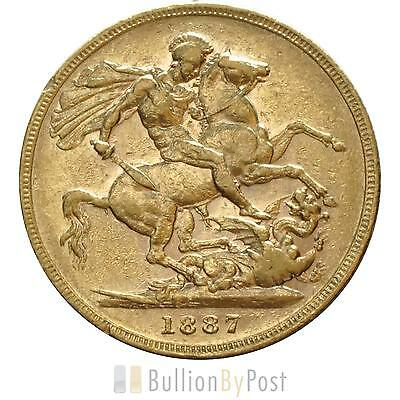 1887 Gold Sovereign - Victoria Young Head - S