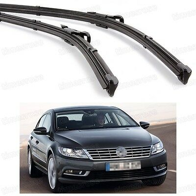 2Pcs Car Front Windshield Wiper Blade Bracketless for Volkswagen CC 2012-2016