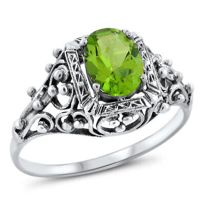 Genuine Peridot Antique Victorian Design 925 Sterling Silver Ring Size 9   #555