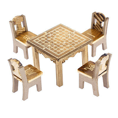 Home Office Wooden Desktop Decor Chinese Chess Printed Craft Table Chair Set