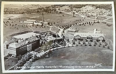 RPPC Oregon OR Roseburg Aerial View Vets Hospital Smoke Stack Homes Circa 1930s