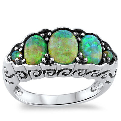 Green Lab Fire Opal Antique Nouveau Design .925 Sterling Silver Ring Size 9,#233