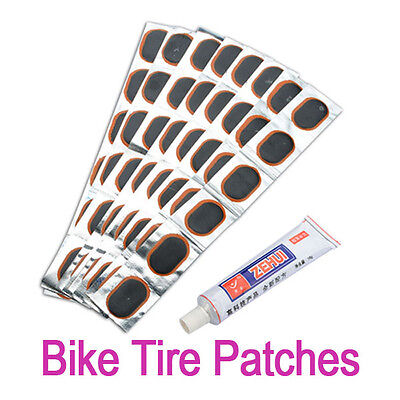 48 pcs Patches Bicycle Bike Tire Tyre Kit Patch Repair Glue Tube Rubber Puncture