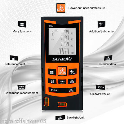 Suaoki 60m/197ft Laser Distance Meter Range Finder Measure Backlit LCD display