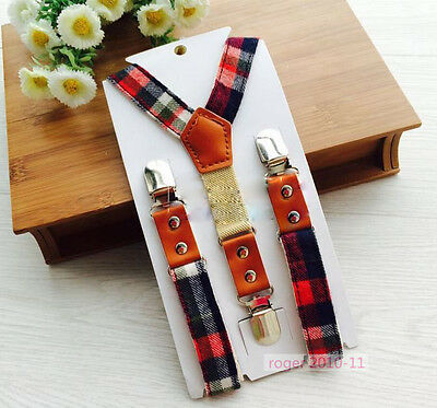Boys Girls Unisex Children Clip-on Adjustable Cloth Tartan Suspenders GHH0118
