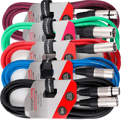 Stagg 5 x 3M XLR Microphone Lead & Audio Signal Cable Multi Coloured Pack