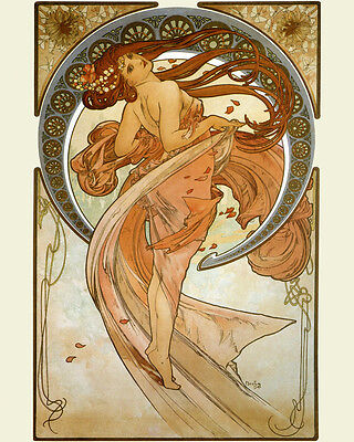 Dance Fashion Lady Girl Dancing by Alphonse Mucha 16X20 Vintage Poster FREE S/H