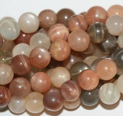 "14"" St BIG  Multicolorl Moonstone Round Beads 9-10mm"