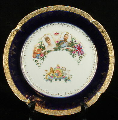 Antique King George V Queen Mary Coronation Plate Cobalt Blue Gold English