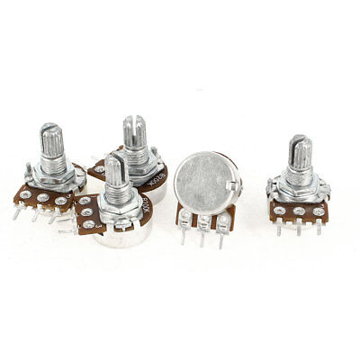5 x B200K 200K Ohm Metal Rotating Shaft Single Linear Rotary Taper Potentiometer