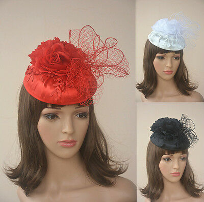 Womens Satin Sinamay Fascinator Cocktail Hat Wedding Kentucky Derby Party A185