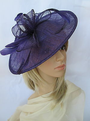 NEW PURPLE SINAMAY & FEATHER FASCINATOR HAT.Shaped saucer disc,Wedding.
