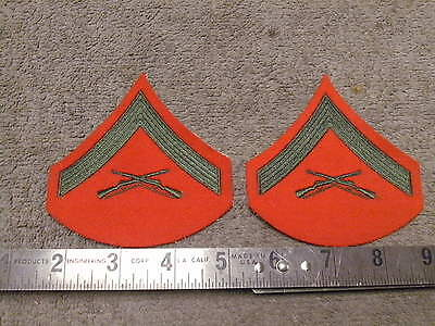 USMC Green on Red  Lance Corporal Rank Patches , Red Felt Backing , unused