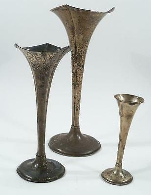 3 Antique Sterling (215 g) and Silverplate Weighted Trumpet Vases 1887-1912