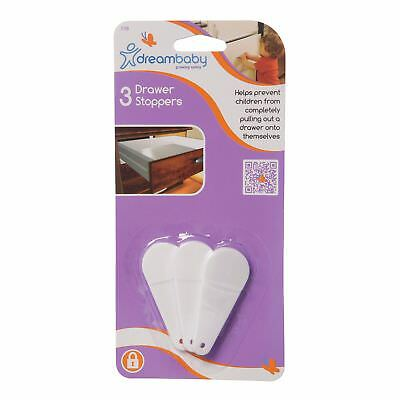 Dreambaby Child Safety Kitchen Bath Cabinet Drawer Stoppers Slide Stop -  3 pk
