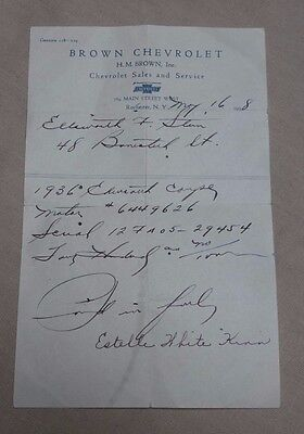 1938 Receipt For 1936 Chevrolet Coupe Car Automobile Brown Sales Rochester NY