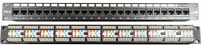 "24 Port Data Patch Panel CAT6/CAT-6 19 inch Network 1U Rack RJ45 19"" AUSTEL APPR"